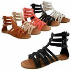 NEW Women's Strappy Gladiator Cage Flat Heel Ankle Strap w/ Buckles Sandal Shoe