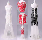 New Lace Evening Gown Prom Ball Cocktail Party Wedding Formal Dress 6 8 10 12 14