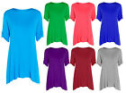 New Women's Girls Short Turn Up Sleeves Folded Button Flared Baggy Ladies Top