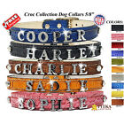 Rhinestone  Leather Dog Collars Personalized - Custom made Small Leather Collars