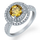 1.76 Ct Round Natural Champagne Quartz 925 Sterling Silver Ring