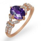 1.96 Ct Oval Amethyst White Created Sapphire Rose Gold Plated Silver Ring