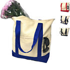 """Zippered Cotton Canvas Reusable Grocery Beach Shopping Tote Totes Bag Bags 20"""""""