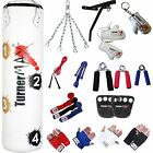 TurnerMAX Boxing Set Filled Heavy Punch Bag, Gloves, Bracket, Chains MMA Pad