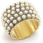 Gold-Tone Simulated White Pearl Wide Band Cocktail Fashion Ring (TS87)