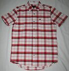 ~~~NEW~~~MENS HURLEY villager SHORT SLEEVE BUTTON UP SHIRT WHITE & RED