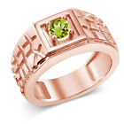 0.60 Ct Round Green VS Peridot 925 Rose Gold Plated Silver Men's Ring