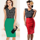 Classic Vintage 50s Polka Dots Women Slim Fit Pinup Stretch Cocktail Party Dress