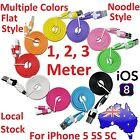 1M 2M 3M Flat Noodle Data Sync Charging USB Cable for iPhone 5 5S 6 7 Plus iPod