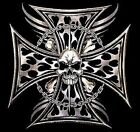 SKULLS IRON CROSS MALTESE CROSS CHOPPER BIKER SLEEVELESS T SHIRT