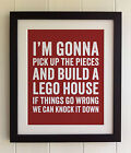 FRAMED TYPOGRAPHY LYRICS PRINT - Ed Sheeran, Lego House, FAB PICTURE GIFT