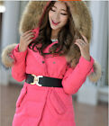 Womens Big Fur Collar Hooded Down Outwear Slim Long Winter Thick Jacket Black