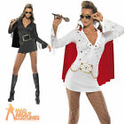 Elvis Ladies Viva Las Vegas Costume Sexy Womens Fancy Dress White Black 8 - 14