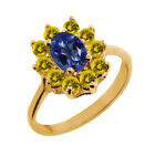 1.45 Ct Oval Tanzanite Blue Mystic Topaz Yellow Sapphire 14K Yellow Gold Ring