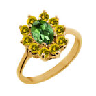 1.35 Ct Oval Green Tourmaline Yellow Sapphire 18K Yellow Gold Ring