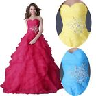 Sweetheart Organza Formal Wedding Bridal Evening Party Attire Pageant Prom Dress