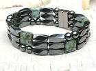 Men's Powerful Magnetic Hematite Bracelet / Anklet AFRICAN TURQUOISE AAA+ 3 row
