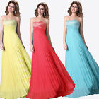 Empire Waist Long Cocktail Party Wedding Ball Gown Bridesmaid Prom Formal Dress