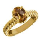 1.60 Ct Oval Checkerboard Champagne Quartz 14K Yellow Gold Ring
