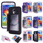 Hard Soft Heavy Duty Hybrid Credit Card Wallet Case Cover for Samsung Galaxy S5