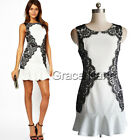 SEXY Womens Bodycon Splicing Party Evening Prom Club Dress Pencil Short Dresses