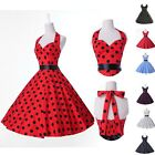 ❤UK Pretty❤ Vintage 1950s Polka Dot Rockabilly Party Swing Cocktail Retro Dress