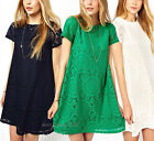 New Women Summer Dress Lace Floral Short Sleeve Club Loose Princess Mini Dress