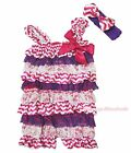 Baby Hot Pink Bow White Chevron Purple Lace One Piece Romper Accessory Set NB-3Y