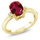 1.58 Ct Oval Red Created Ruby 14K Yellow Gold Ring