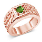 0.50 Ct Green SI1/SI2 Chrome Diopside 925 Rose Gold Plated Silver Men's Ring