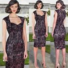 Womens Vintage Elegant Lace Business Party Club Bodycon Tunic Shift Dress 296