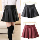 Womens Girls Black Faux Leather Mini Skirt High Waist Pleated Skater Flared