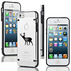 For iPhone 4 4s 5 5s 5c Transparent Clear Hard TPU Case Cover Deer Bullseye Hunt