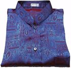 Mens Jacquard Weave Mandarin Collar Thai Silk Shirt Short - Long Sleeve S-XXXL