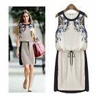 2014 hot fashion Ladies Evening Formal Chiffon Floral Sleeveless Mini Vest Dress