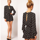 Fashion Cute Girl Jumpsuit Polka Dot Long Sleeve Short Pants Rompers Waist Strap