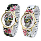 1pc Day Of The Dead Sugar Skull Stretchy Quartz Analog Wristband Unisex Watch
