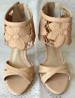 Next Ladies Nude Flower Ankle Cuff Wedding Bridal Party Prom Zip Heel Sandals