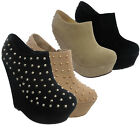 New Ladies Slip On High Heel Wedge Studded Womens Ankle Boots Shoes Size Uk 3-8