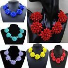 New design Women Mixed Flower Chunky Choker Statement Chain Bib Necklace XL1563