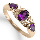 18k Solid Rose Gold Three Stone Amethyst Ring 1.00ct. Ring Sizes 4 to 9.5 #R1276