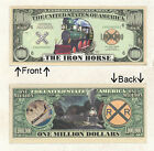 Iron Horse Train Million Dollars Bill Novelty Notes 1 5 25 50 100 500 or 1000