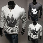 Paw print Crew neck Slim fitted stretchy Long sleeve Men's Cotton Tee Shirt new