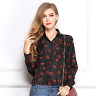 CHEAP College Europe Style Red Tip Vintage Lady Casual Shirt Tops Blouse Shirts
