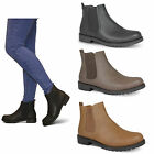 womens ladies chelsea low block heel chunky grip sole new ankle boots shoes size