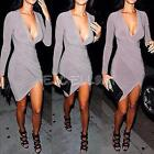 Sexy Womens V-Neck Long Sleeve Bodycon Cocktail Evening Party Dress Clubwear New