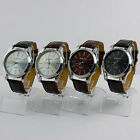 New Men's Silver Black Dial Faux Leather Band Casual Fashion Quartz Wristwatch