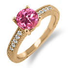 1.65 Ct Round Pink Mystic Topaz White Sapphire 18K Rose Gold Plated Silver Ring