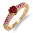 0.74 Ct Round Red Ruby Pink Sapphire 925 Rose Gold Plated Silver Engagement Ring