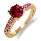 1.73 Ct Round Red Created Ruby Pink Sapphire 925 Rose Gold Plated Silver Ring